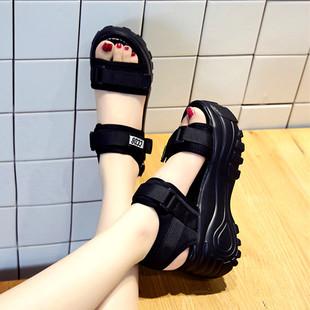 厚底凉鞋女松糕底2019夏季鞋子高跟防水台坡跟仙女风小码软底