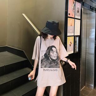 于momo2019夏装全棉人头T恤宽松遮肉短袖女时尚百搭圆领上衣