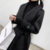 赫本风加厚黑色呢子大衣2018冬季收腰中长款过膝羊毛呢外套女