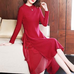 羊毛连衣裙女装冬装2019红色喜庆毛呢裙春秋季中长款打底裙子