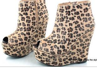 Круглый носок Танкетка Молния Высокий каблук (более 8 см) Клееная обувь Танкетка, Водонепроницаемая платформа, Леопардовый узор Однотонный цвет