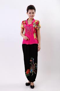 2014夏装中老年女装套装加大码女唐装刺绣短袖裤子套装九分裤