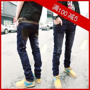 Джинсы мужские LONGXI k818 2012 Облегающий покрой Классическая джинсовая ткань Эксклюзивные корейский и японский стили 2012