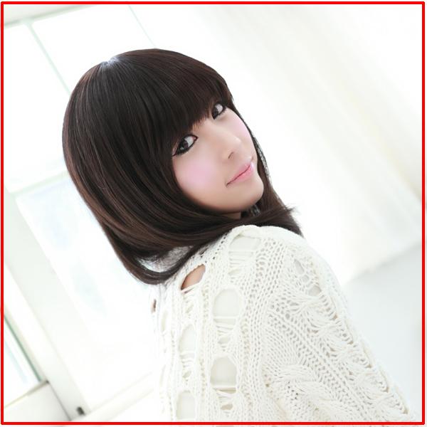 美因素假发 韩式潮流修脸发型 甜美女生 齐刘海发尾微图片