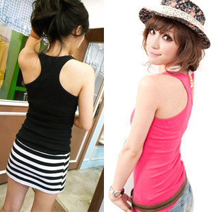 Korean 2012 spring clothing vest women candy color shirt vest at  end of  summer  base tape MaxMara t shirts vests