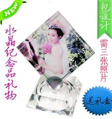 超大号加灯旋转照片定制水晶魔方立方体影像结婚