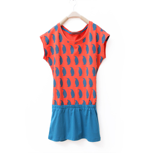 2012 new summer Korean cute Penguin printed dress XXL colour matching elastic waist resumption mosaic WQ1419