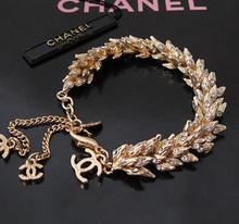 Diamante Pastoral de lujo Chanel pulsera trigo suerte de la serie K de oro chapado