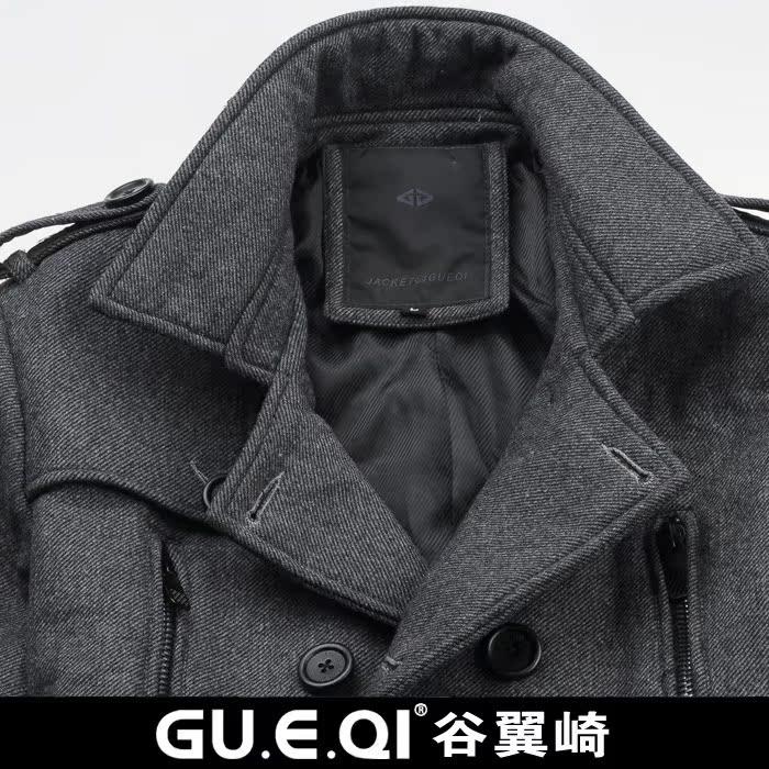 Пальто мужское Gu. e. the qi 2011 GUEQI 1006 Шерстяная ткань для пальто Без воротника со стойкой