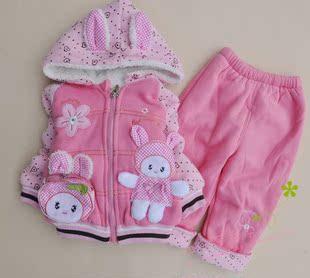 亏本2014宝宝秋冬装童装棉衣女童可爱小白兔1到3岁 套装