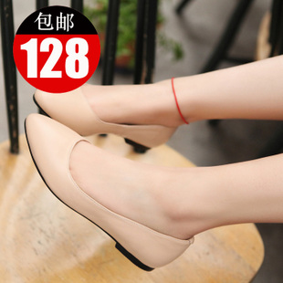 Ai Qifei leather Europe pointed flats shoes danxie shoes flat women's shoes black women D-1