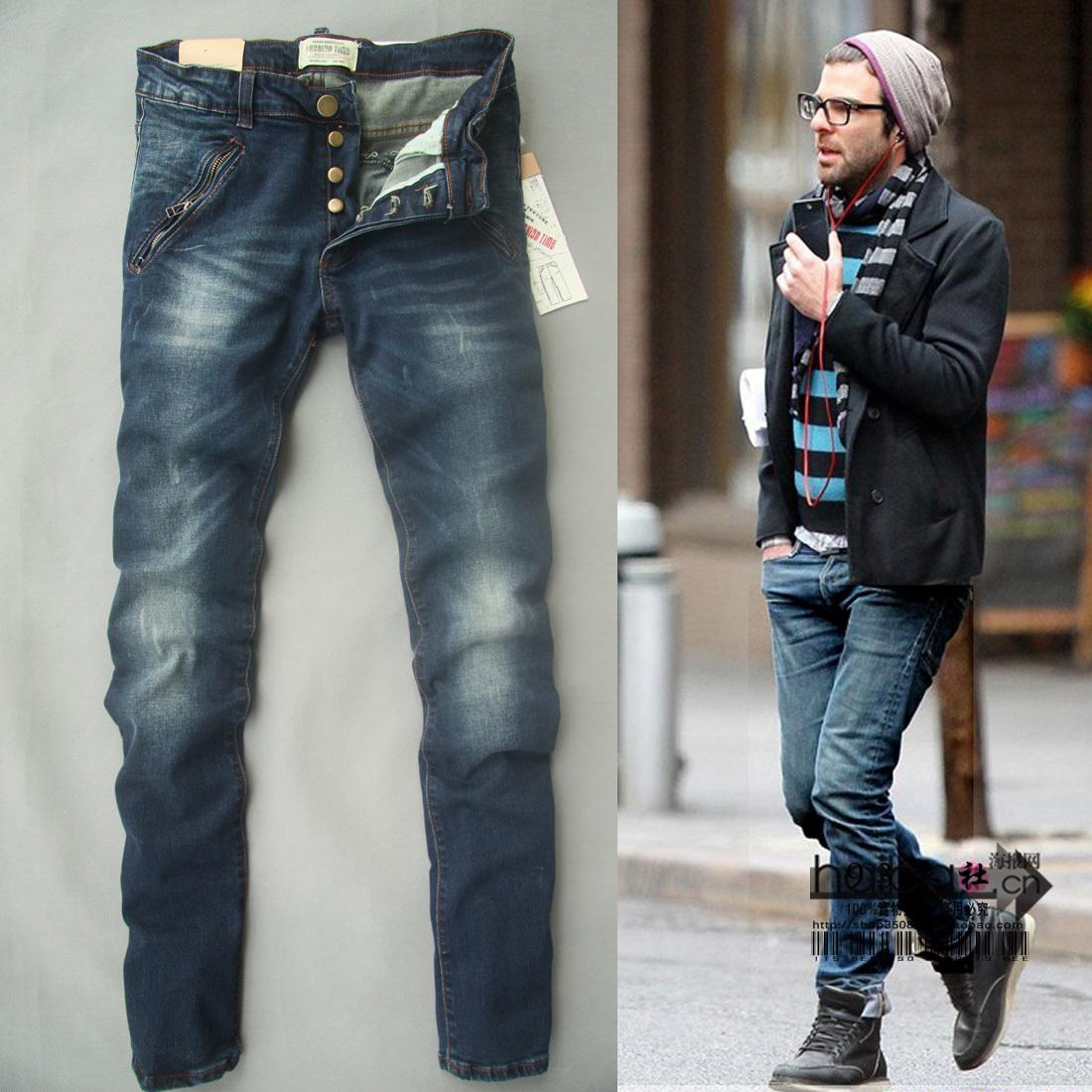 Джинсы мужские Others Зауженные книзу (окружность голени>окружности отворота) Классическая джинсовая ткань Модная одежда для отдыха 2012