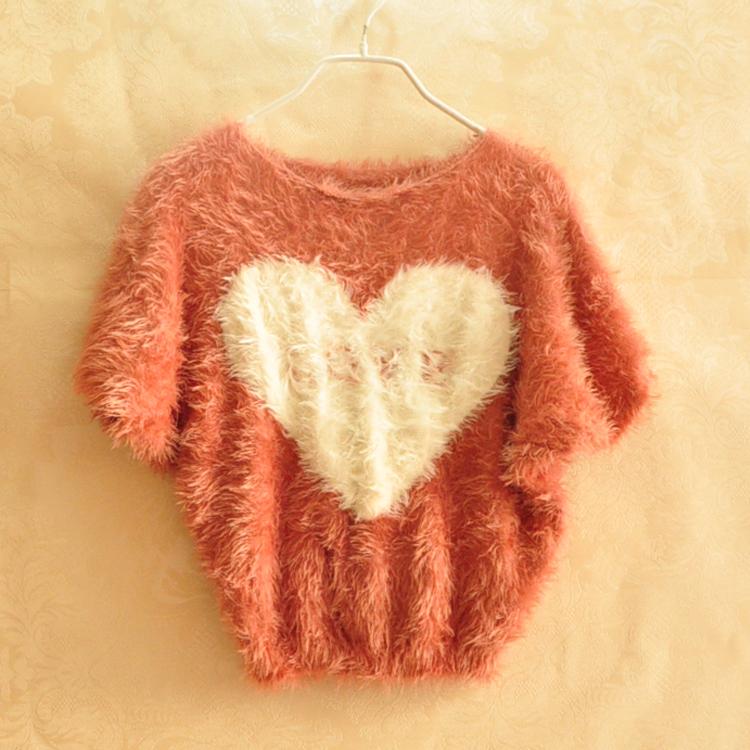 Свитер женский Корейская версия битой рукав свободные свитера моды свитер, свитер короткие Мохер Разные материалы Короткий рукав О-вырез