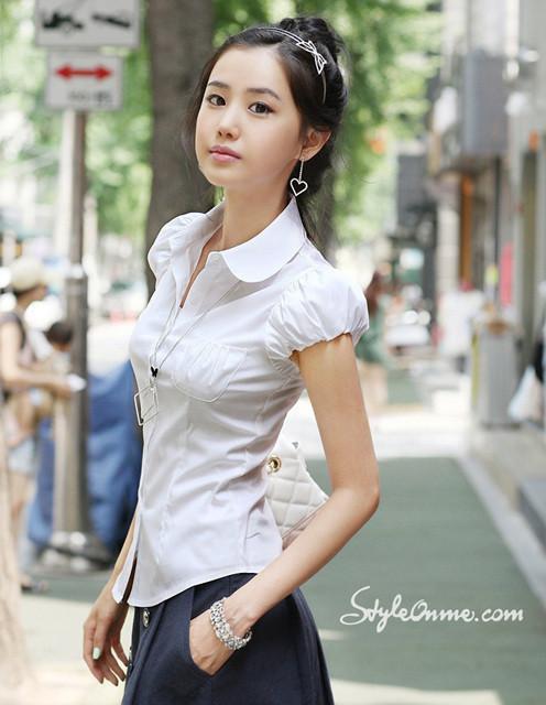 женская рубашка Корейская версия нового профессионального белый пузырь рукав тонкая талия качества моды Джокер рубашки женские Повседневный Короткий рукав Однотонный цвет