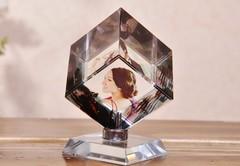 魔方360旋转立方体定制水晶奖杯创意情人节礼物送女友七夕纪念品