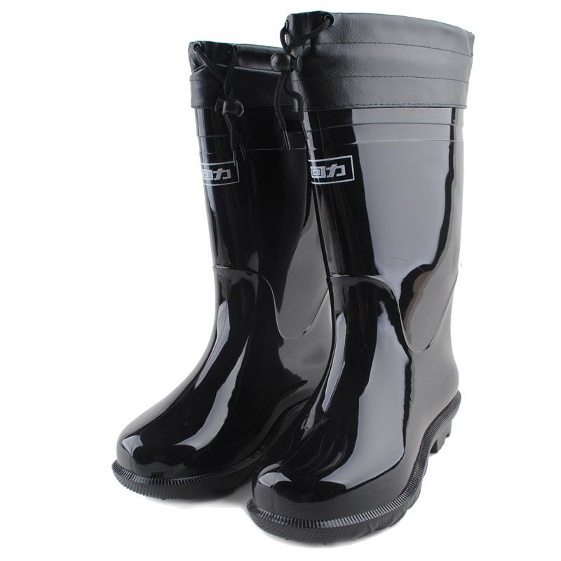 回力加棉皮口保暖橡塑PVC靴男款防水鞋高筒雨鞋胶鞋雨靴套鞋牛筋