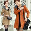 大码女式风衣中青年女装带帽外套中长款2014秋冬季女外衣棉质