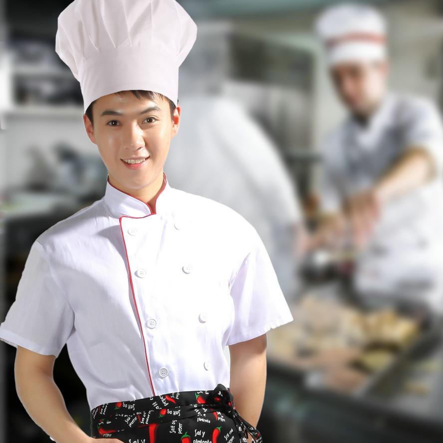 厨师春夏装厨师服半袖男秋装厨师服装酒店厨师工作服白色红边条图片