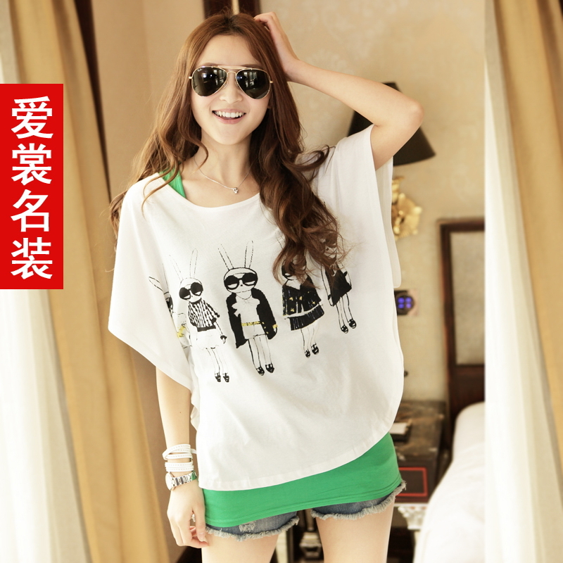 Any 2 for post 2013 summer Korean loose bat sleeve two piece ladies short sleeve shirts at the end of t shirts women