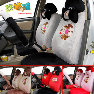 Genuine CICI car seat cover super soft thickened beibei fleece set of 18 cartoons seat cover universal eternal