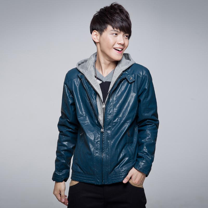2012冬季新款非主流男装森马摩高风假两件皮衣夹克男士加厚外套图片