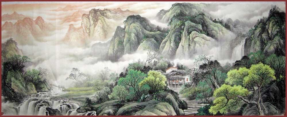 【鸿韵堂】中国画山水画客厅★李学明★小六尺山水画 招财聚宝盆2