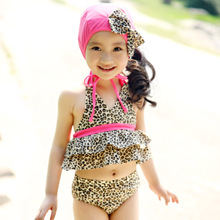 3-year-old children's children's wear swimsuit girls swimsuits summer 2012 korean version of leopard genuine 10-year-old youngster