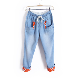 2012 Summer clothes new white elastic waist skinny collection to curling pants jeans pencil pants women WK1228