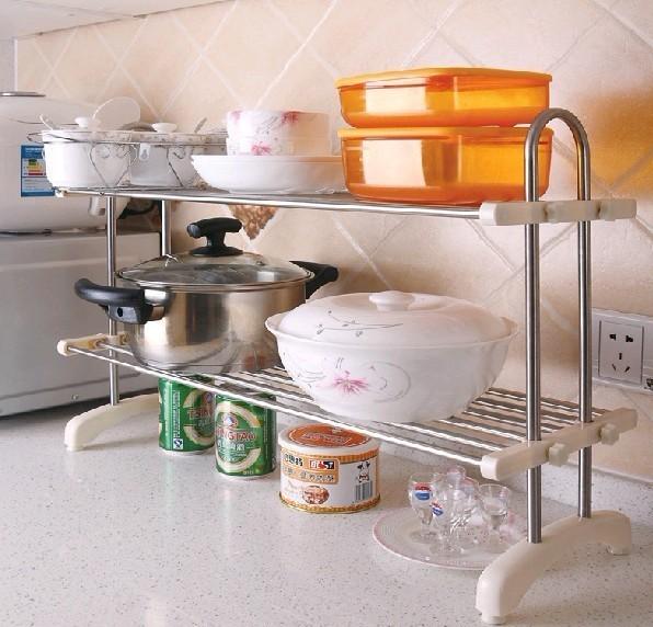 亿加亿可伸缩厨房用品饭碗碟置物架 卫生间收纳架浴室层架储物架