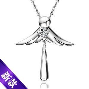 9折秒杀 曼诺龙 绝美天使之恋项链 925纯银韩版珠宝首饰品 女吊坠