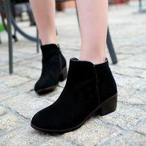 真皮短靴磨砂牛皮牛仔靴圆头粗跟中跟个性韩版淑女靴子鞋34码女鞋