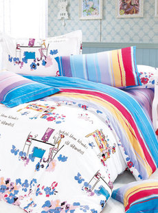 Basha dream home textile 2012 new season girls cotton twill prints children's three-set 041012103