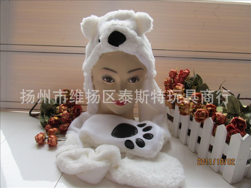 Игрушка [Свет любви дом] Корея SJ любовь высокого качества толстый белый торт шапка шарф перчатки медведь шляпа