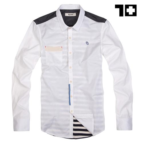 Рубашка мужская Seven Joy 21cs04b + Хлопок без добавок Квадратный воротник Длинные рукава ( рукава > 57см )