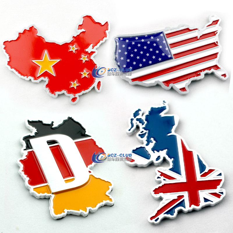 翼贴3d立体国旗地图类铝合金车贴 美国 英国 德国 中国地图车标图片