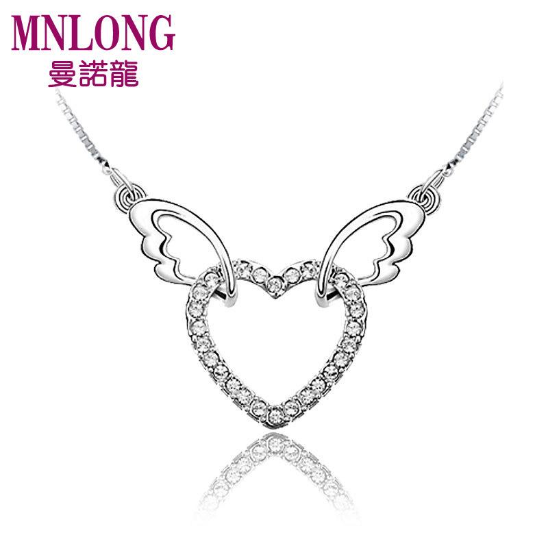 曼诺龙 新款 天使翅膀心形项链 925纯银 韩国首饰品时尚女吊坠 毛