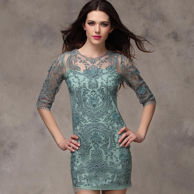 Темперамент примитивизм AW новой моды ажурная вышивка платья, тонкий тонкий Кружевная юбка в конце