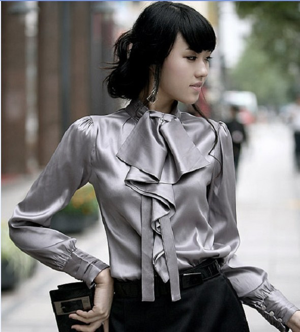 женская рубашка Other 2012 OL Casual Длинный рукав Однотонный цвет Оборка Воротник-стойка