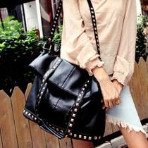 特价个性折叠坚款女包大包单肩斜挎包手提包铆钉 PU黑色三用休闲