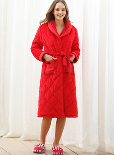 Dream ba Sally female underwear festival gorgeous coral flocking clip cotton household robe 01483