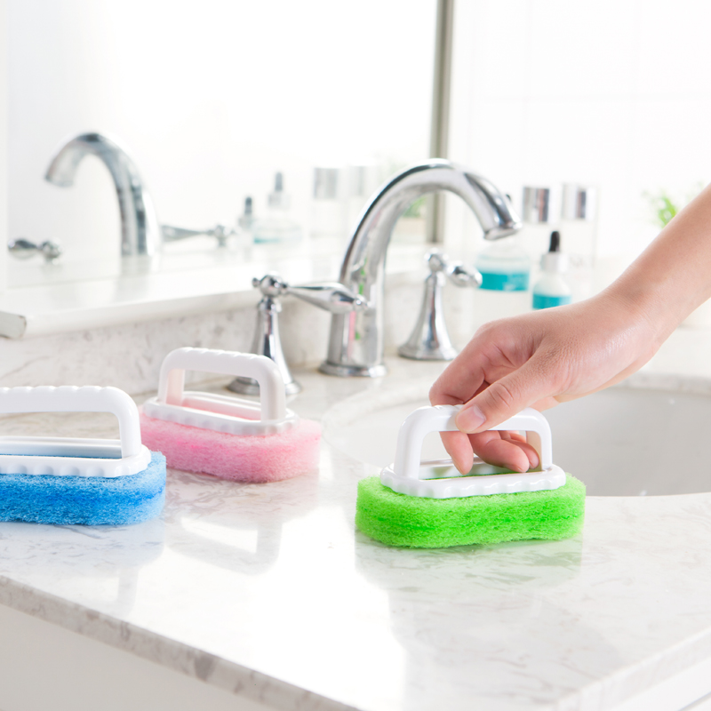 洗士多手柄强力去污海绵硬底清洁刷 灶台浴室浴缸刷地板擦瓷砖擦
