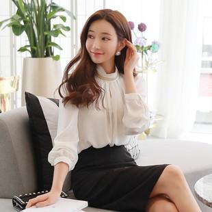 韩国职业女装2018秋奢华金色链条半高领长袖雪纺衬衫