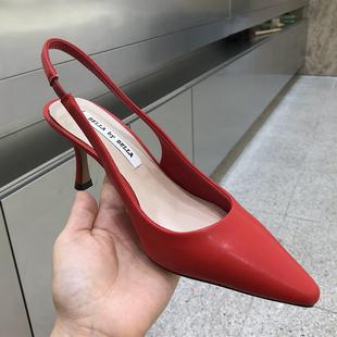 韩国东大门凉鞋女包头浅口后绊带糖果色真牛皮OL细跟高跟鞋18