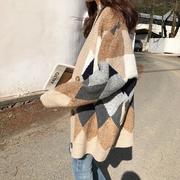 复古菱格蝙蝠袖针织开衫2018春季宽松中长款慵懒毛衣外套