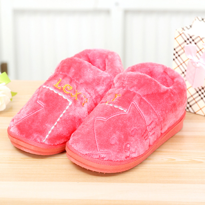 New autumn and winter package with cotton slippers men and women couple home heavy-bottomed non-slip shoes Specials month plush slippers