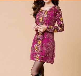 2014秋冬季印花毛衣女装打底中长款袖大码羊毛绒针织衫连衣裙