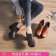 宝迪美崎2018春季真皮女鞋厚底粗跟高跟鞋防水台浅口单鞋女