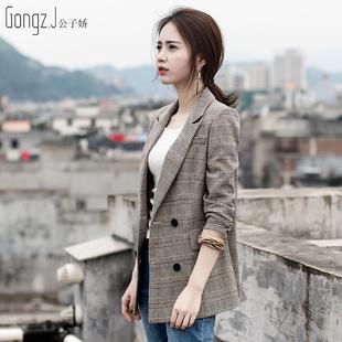 格子西装外套女2019春秋装显瘦气质女士长袖短款西服