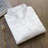 秋季纯棉小清新OL风V领长袖白衬衫外穿内搭打底女式衬衣上衣