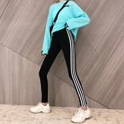 运动打底裤女春秋季黑色铅笔小脚裤子外穿高腰显瘦紧身潮